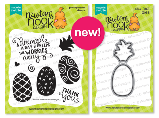Pineapple Delight 4 x 4 Pineapple stamp set & Die set by Newton's Nook Designs #newtonsnook