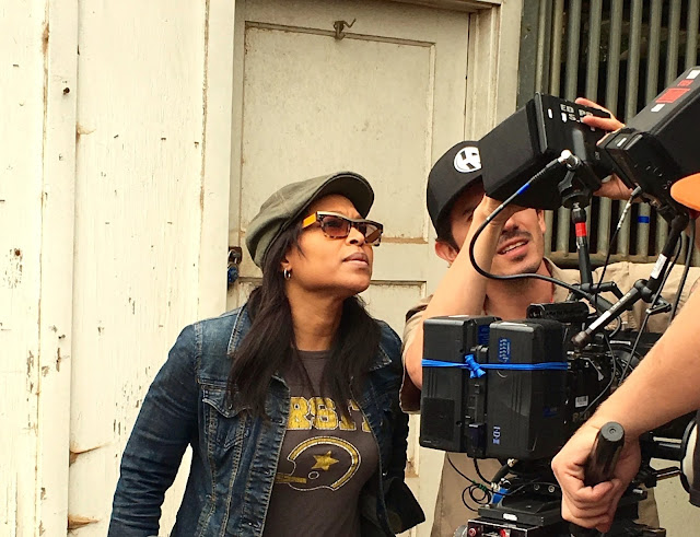 Jade Jenise Dixon on set with cinematographer