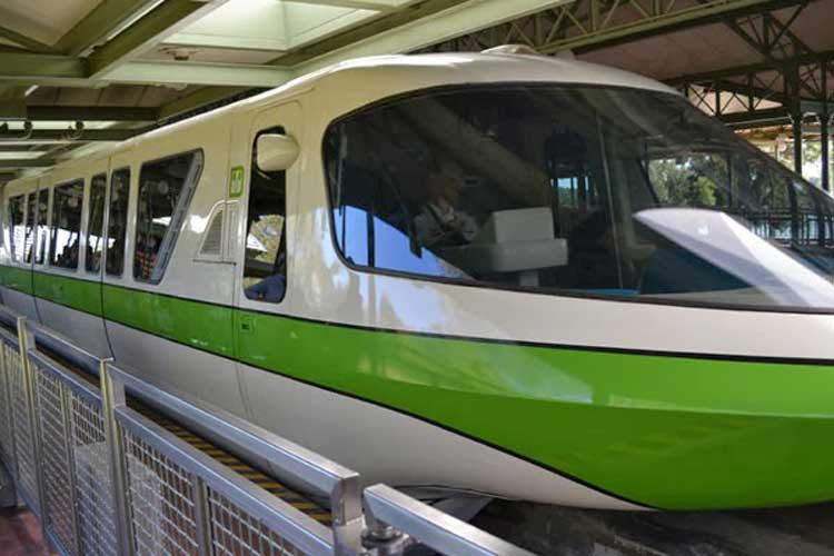 A green monorail at Disney World in Orlando