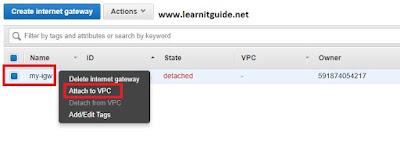 attach internet gateway to vpc