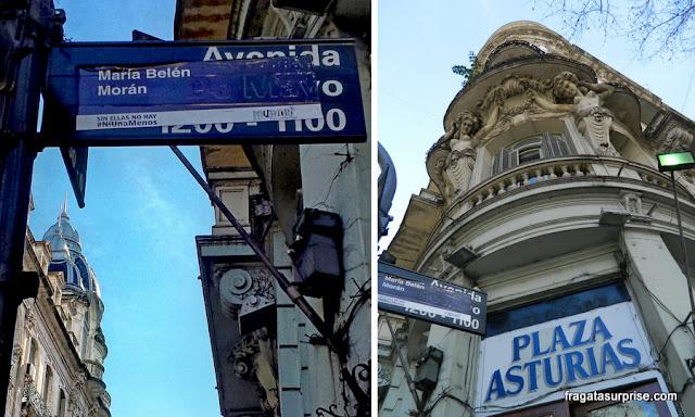 Avenida de Mayo, Buenos Aires, protesto contra feminicídio