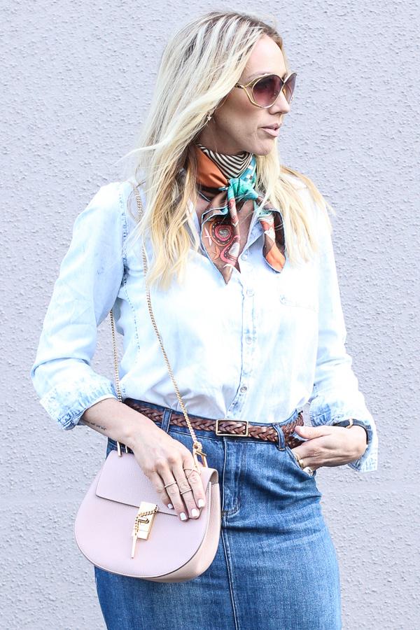 parlor girl silk neck scarf denim top