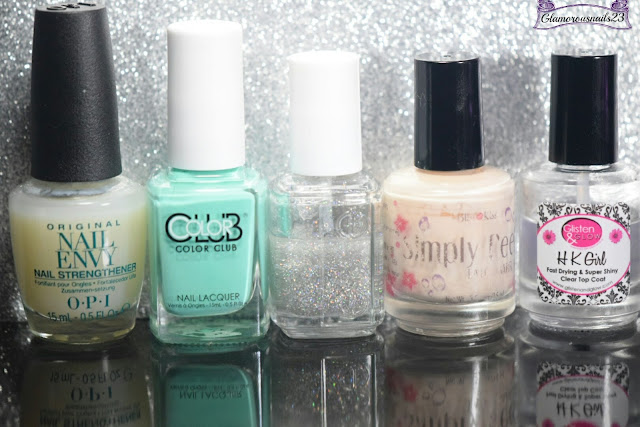 O.P.I Original Nail Envy, Color Club Age Of Aquarius, Essie Carnival, Bliss Kiss Simply Peel Latex Barrier, Glisten & Glow HK Girl Fast Drying Top Coat