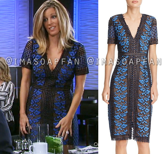 Carly Corinthos, Laura Wright, Black and Blue Lace Dress, General Hospital, GH