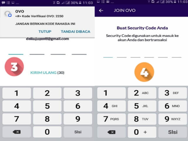 Masukkan kode OTP dan kode verifikasi