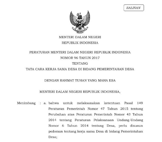 Peraturan Menteri Dalam Negeri Nomor 96 Tahun 2017 tentang Tata Cara Kerjasama Desa di Bidang Pemerintahan Desa.