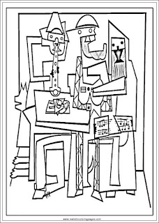 three musicians pablo picasso art coloring pages for adults