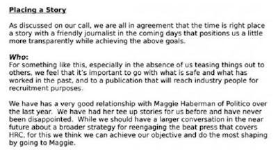 Extracto de la nota del secretario de prensa de la campaña de Hillary Clinton, Nick Merrill, dictada a la reportera del diario The New York Times, Maggie Haberman.