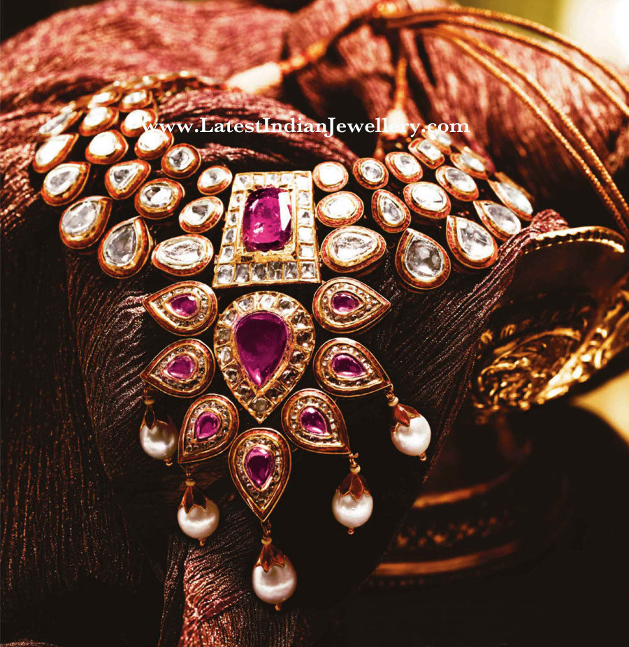 Tanishq Kundan Polki Necklace With Rubies And Pearls