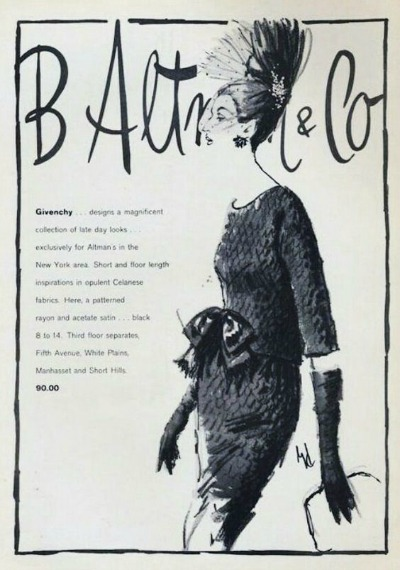 1950's Givenchy Fashion Illustration for B. Altman