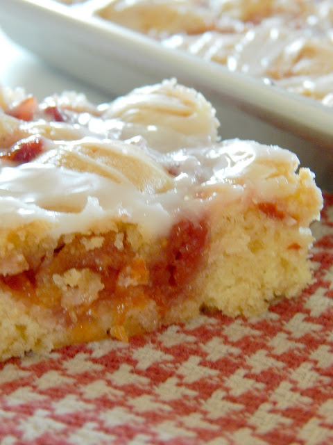 Cherry Cake Bars...a combo of sweetness, tartness and wholesome almond yellow cake! (sweetandsavoryfood.com)
