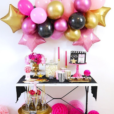Movie Night Party Ideas in Pink, Gold and Black