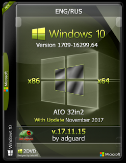 Windows 10 Rs3 v1709.16299.64 AIO FOR PC Update November 2017