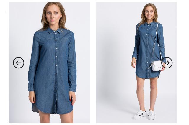 Rochie scurta tip camasa din blugi albastru inchis ieftina Vero Moda