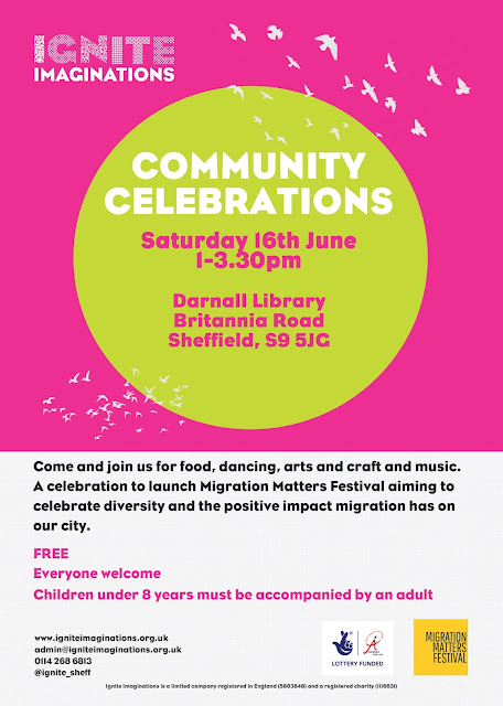 Poster advertising Migration Matters Community Celebration, 1 - 3.30pm Saturday 6 June at Darnall Library