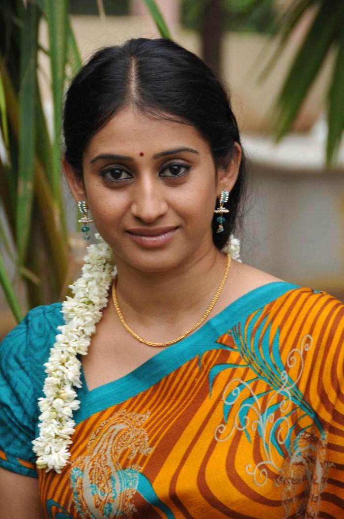 Telugu TV Serial Actress Meena In Yellow Saree Picture ...
