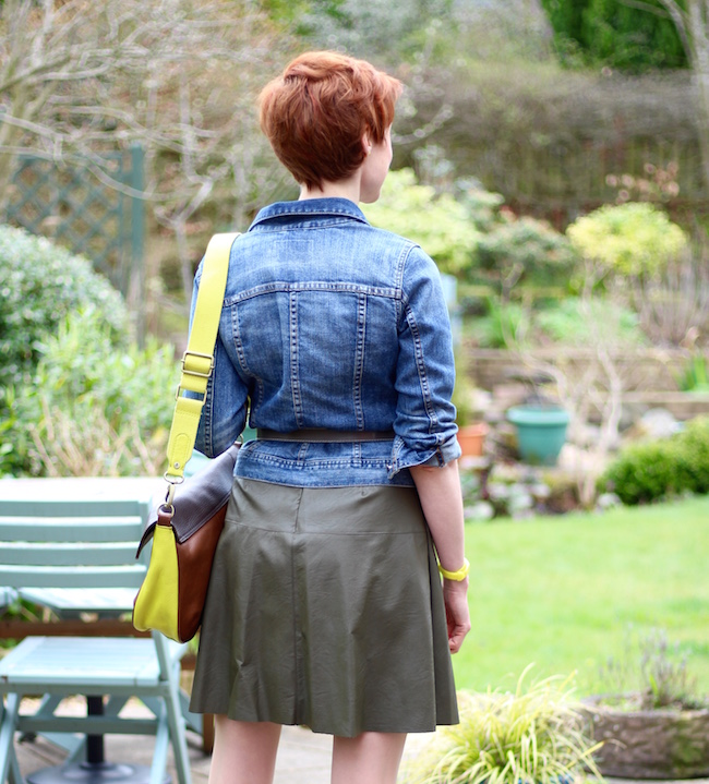 Fake Fabulous | Green leather dress, denim jacket, Boden belt and bag, Clarks peep-toe shoes.