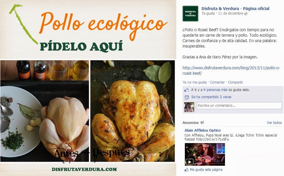 Pollo al horno y publicación de una de mis fotos