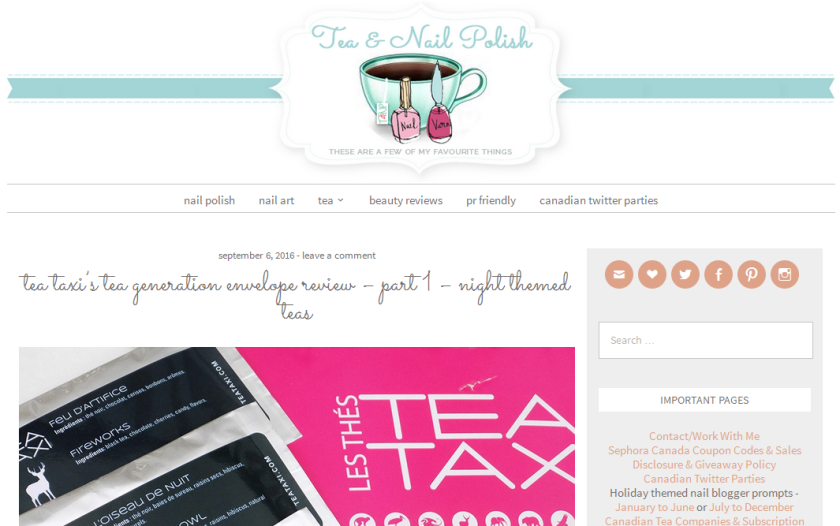 bbloggers, bbloggersca, canadian beauty bloggers, tea and nail polish, featured blogger, blog of the month