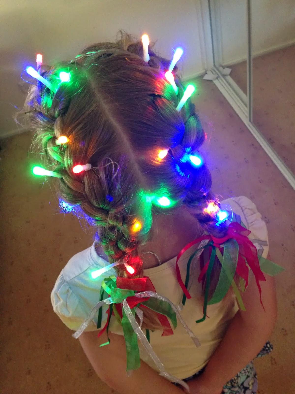 Giggleberry Creations Christmas Lights Hair Do