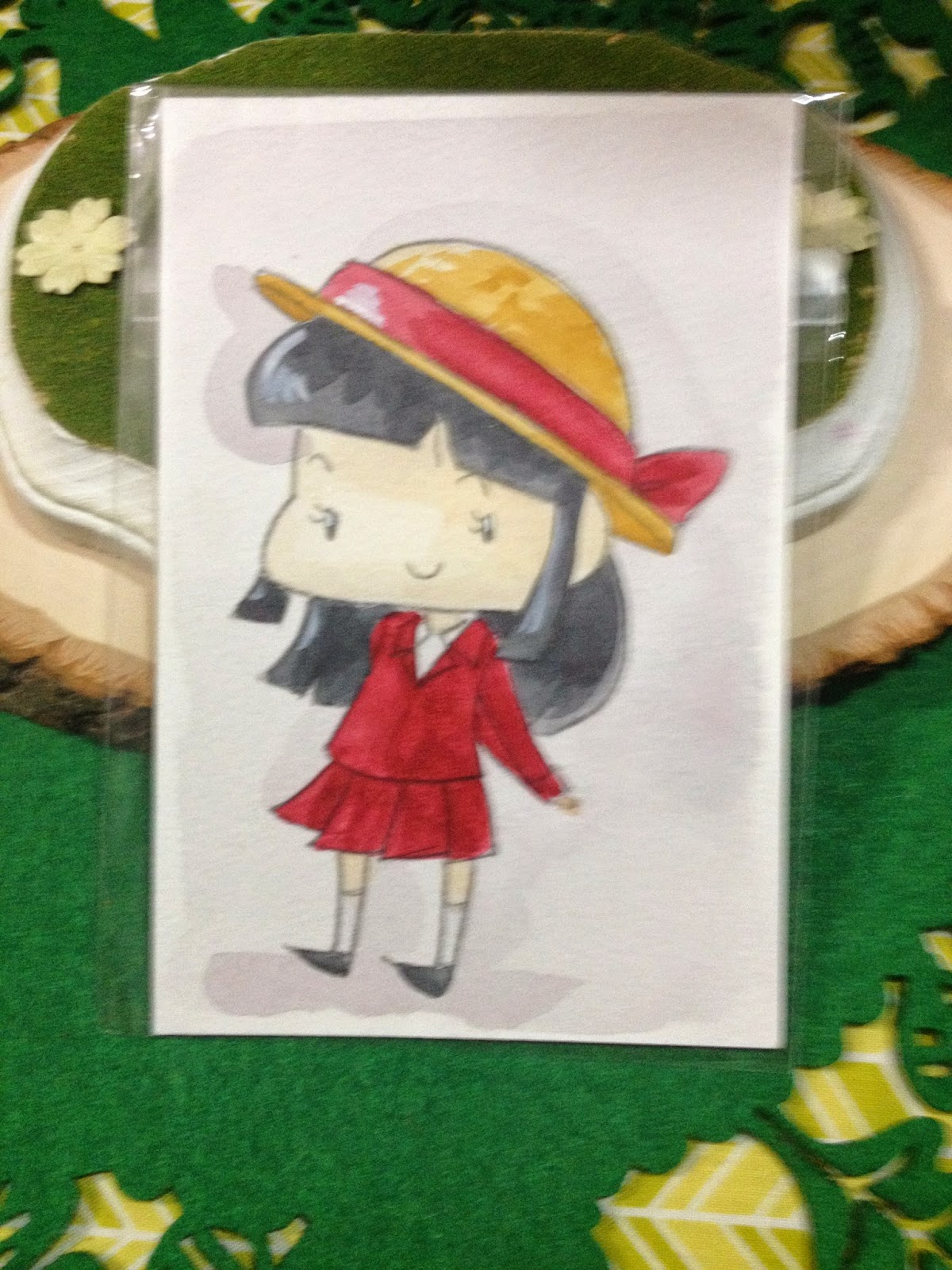 Watercolor illustration of Ai from Crayon Shin Chan
