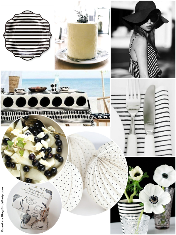 Monochromatic Black & White Summer Party Ideas - via BirdsParty.com