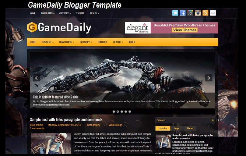 GameDaily Blogger Template