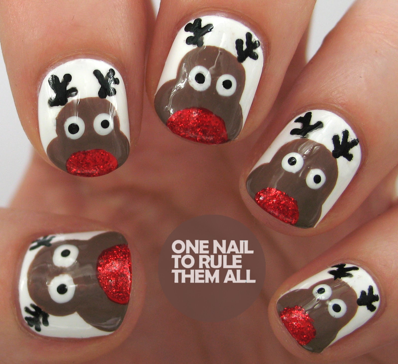 Reindeer Nail Art: One Nail To Rule Them All: Tutorial Tuesday: Christmas Eve