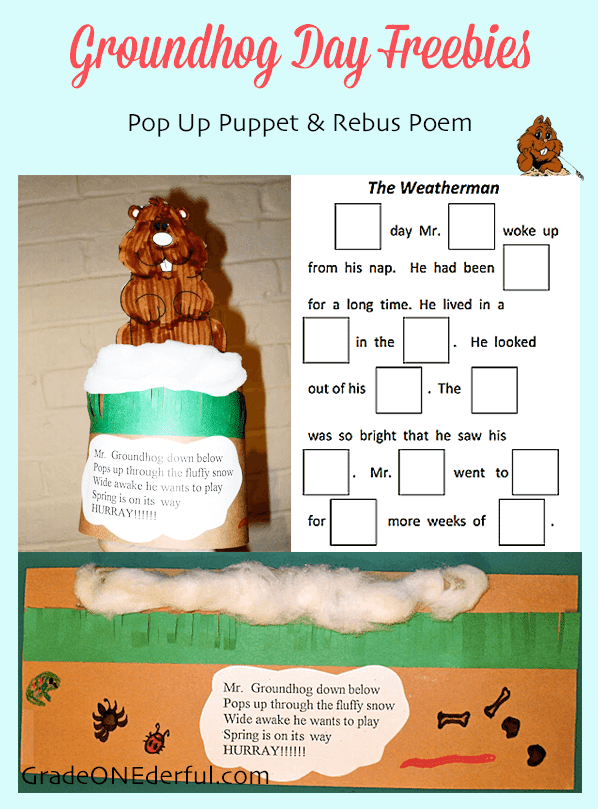 Groundhog Day Freebies: Cute pop-up puppet, poem and rebus story by GradeONEderful.com