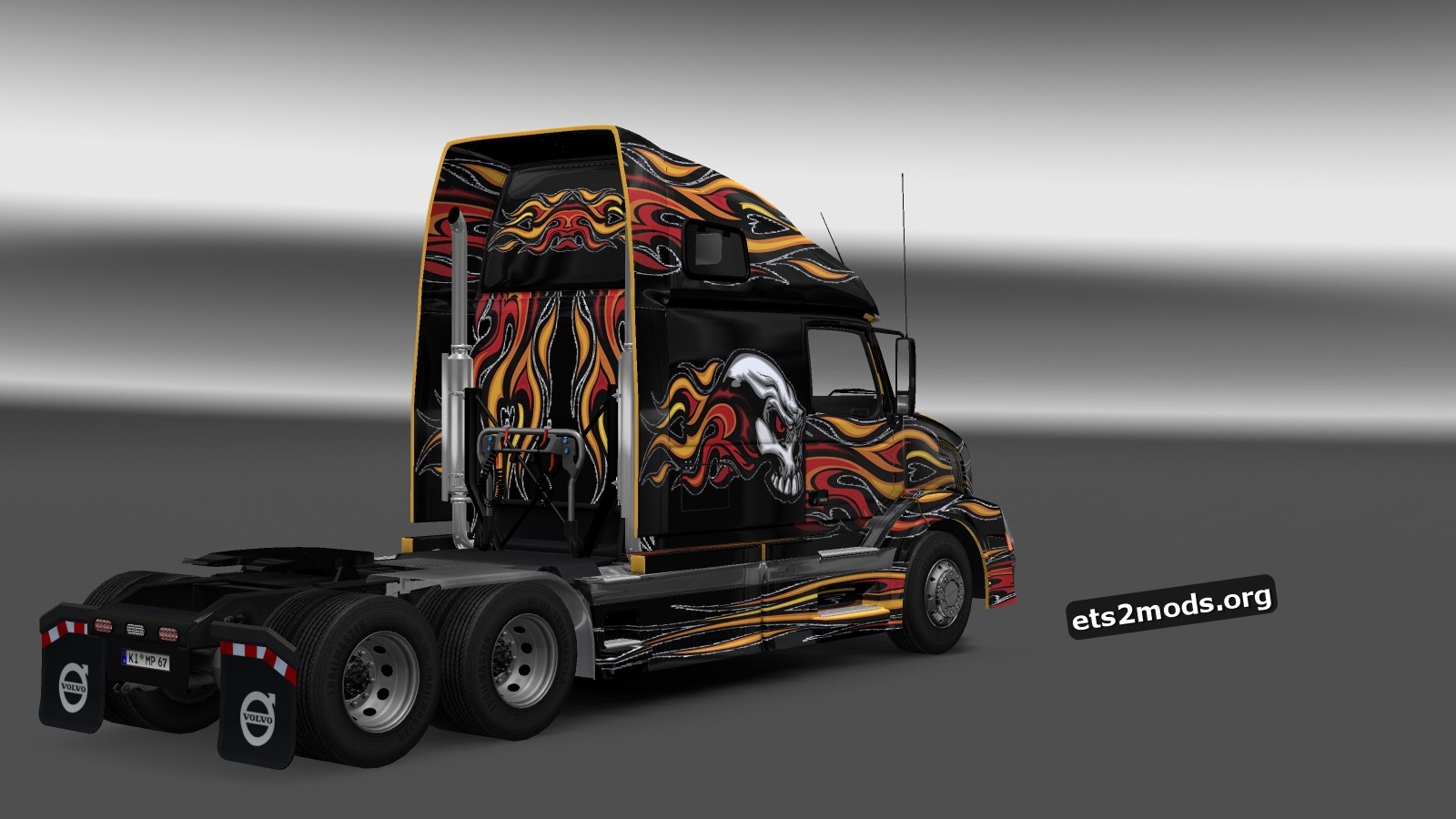 Flaming Skull Graphic Skin for Volvo VNL 670