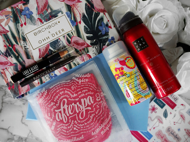 THE JANUARY 2018 BIRCHBOX BEAUTY BOX EDIT WITH OHH DEER FLATLAY AND ALL THE INCLUDED PRODUCTS