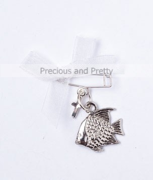 Fish safety pin martyrika Greek Orthodox baptism KL34