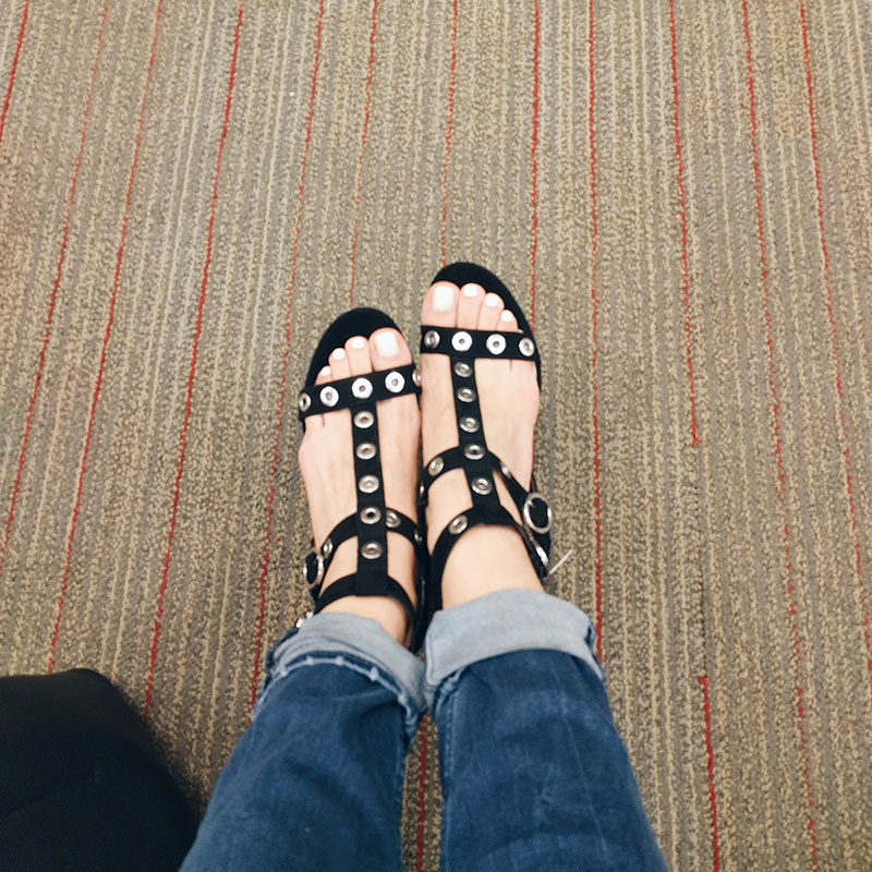 Sam & Libby Evita Grommet Heeled Pump Sandals target shoe try on