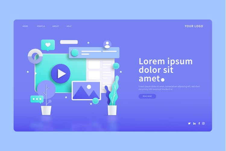 Download Wallpaper Digital Screens and Plants 3D Concepts Landing Page