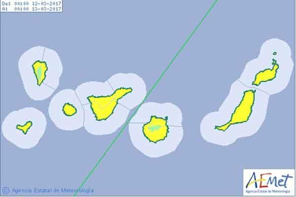 Aviso por viento en Canarias domingo 12 marzo