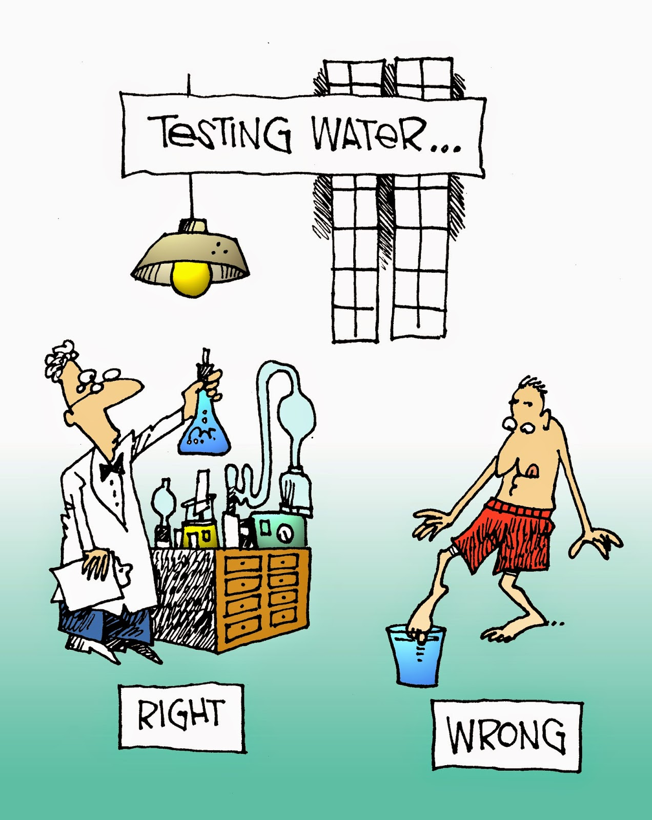 testing water cartoon