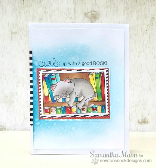 Cat on Bookshelf card by Samantha Mann | Newton's Book Club Stamp set by Newton's Nook Designs #newtonsnook