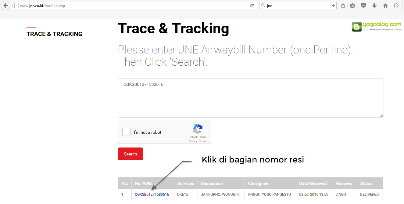 Halaman Tracking JNE