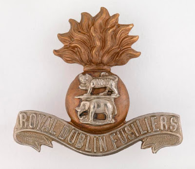 Cap badge of the Royal Dublin Fusiliers used under the IWM Non-Commercial Licence, © IWM (INS 7233)
