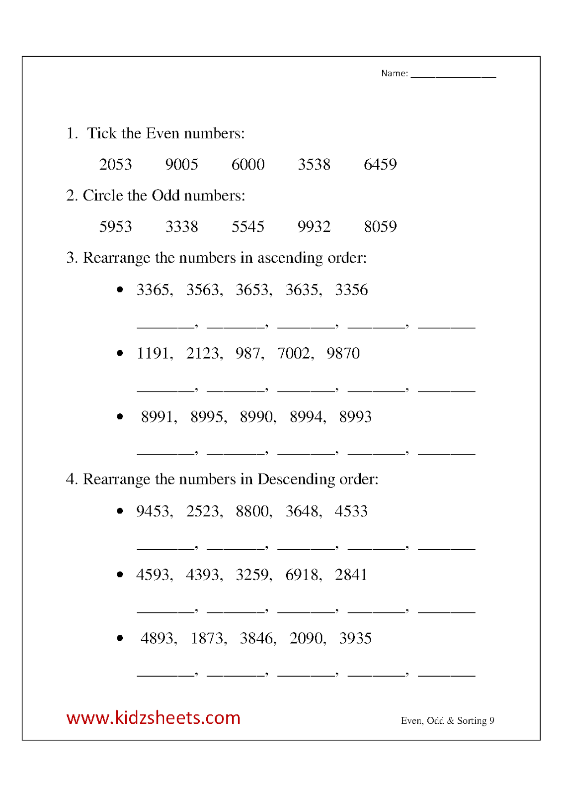 medium resolution of Worksheets For Ascending And Descending Order   Printable Worksheets and  Activities for Teachers