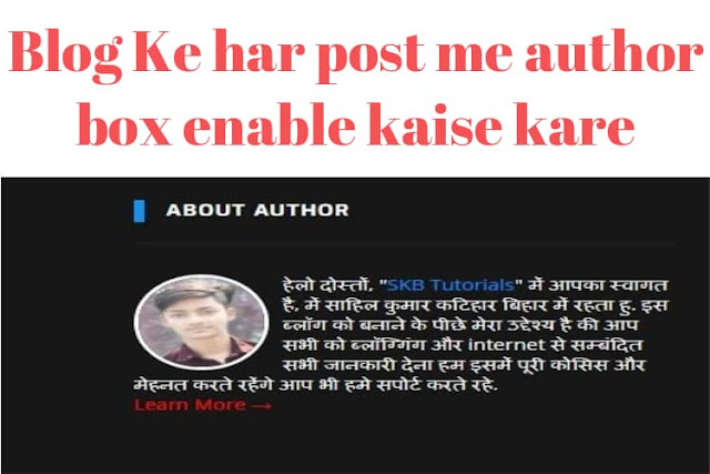 blog ke har post me author box kaise add kare hai how to enable author box in blogger