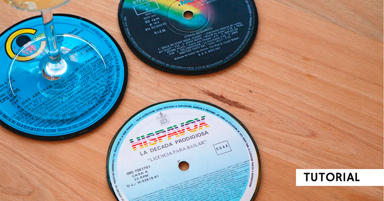 Posavasos reutilizando discos estropeados