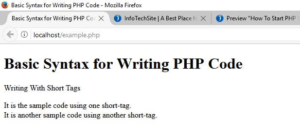 Short Tag Syntax for Writing PHP Code