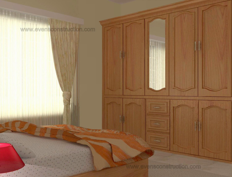 Evens Construction Pvt Ltd Kerala Bedroom Interior Design With Wooden Wardrobe