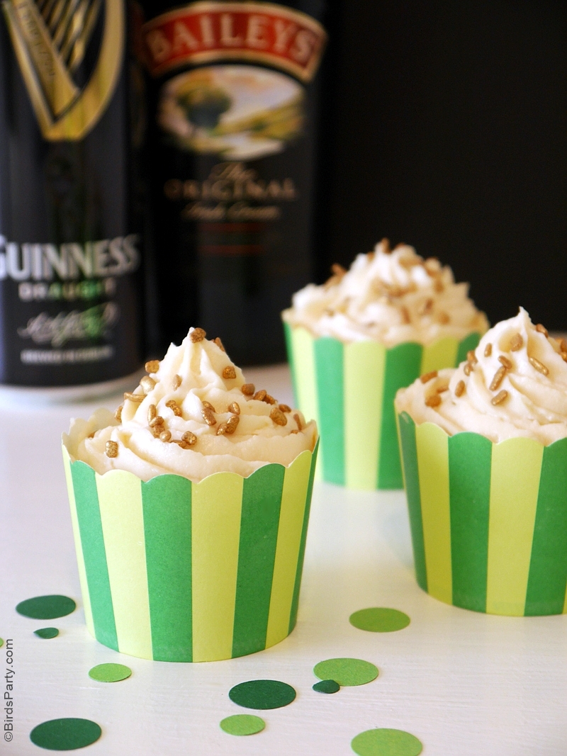 Guiness Chocolate Cupcakes with Bailey's Cream Frosting Recipe - BirdsParty.com