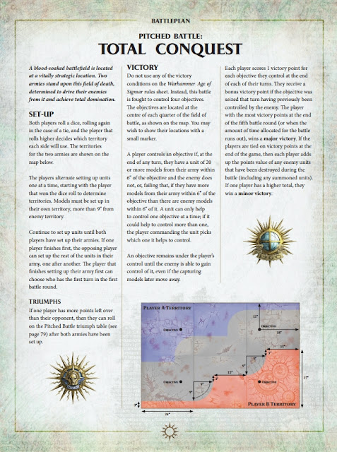 warhammer age of sigmar scenario total conquest set up dimnesions objectives coordinates