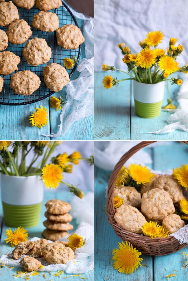ciasteczka z kwiatami mniszka lekarskiego płatkami owsianymi i miodem