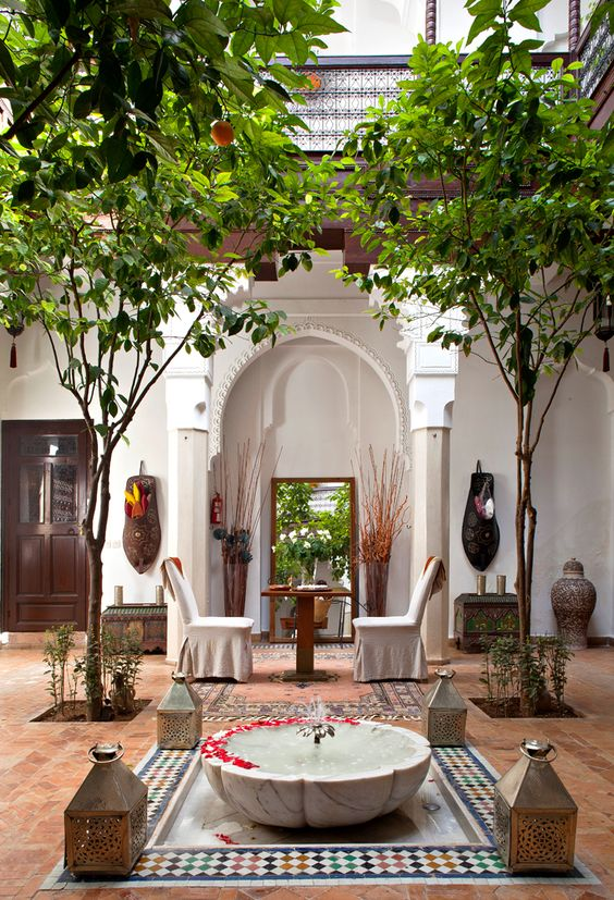 Lovely courtyard at Hotel Riad, Marrakech. Photographer Jerome Mondiere