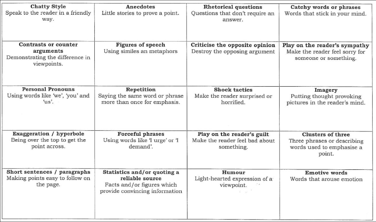 Room 1 S Homework Spot Persuasive Techniques