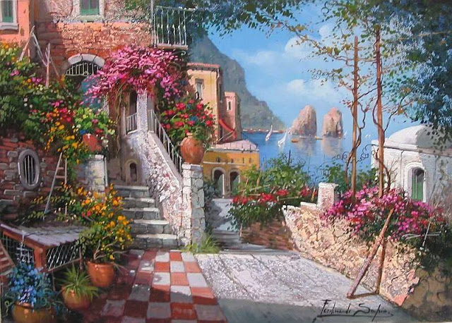 A stunning Paintings, representing the town of Positano, Italy